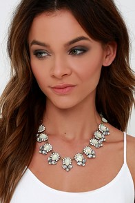 Get Glam Cream Rhinestone Statement Necklace at Lulus.com!