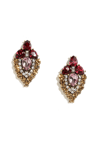 Napa Vineyard Berry Red Rhinestone Earrings at Lulus.com!