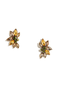 Exotic Blooms Yellow Rhinestone Earrings at Lulus.com!