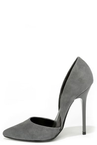 Steve Madden Varcityy Grey Suede Leather D'Orsay Pumps at Lulus.com!