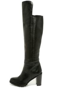 Seychelles Alexandrite Black Leather Knee High Heel Boots at Lulus.com!