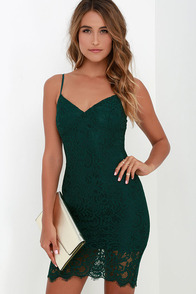 Figment of Fascination Dark Green Lace Bodycon Dress at Lulus.com!