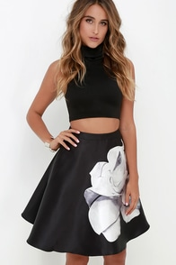 Floweret Ivory and Black Floral Print Skirt at Lulus.com!