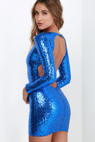 Stuff of Legend Cobalt Blue Backless Sequin Dress at Lulus.com!