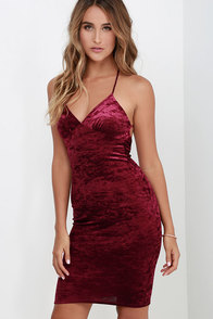 Quite A Crush Wine Red Velvet Midi Dress at Lulus.com!