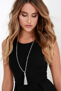 Metallic It Up Gunmetal Beaded Necklace at Lulus.com!