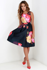 Ballroom Bloom Navy Blue Floral Print Midi Dress at Lulus.com!