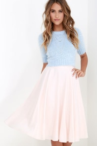 Fine Swoon Pale Blush Midi Skirt at Lulus.com!