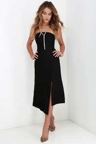 Cameo Seasons Change Black Strapless Midi Dress at Lulus.com!