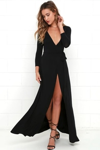 Garden District Black Wrap Maxi Dress at Lulus.com!