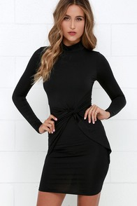 Swivel Step Black Long Sleeve Dress at Lulus.com!