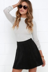 Wrangle the Wind Black Suede Skirt at Lulus.com!