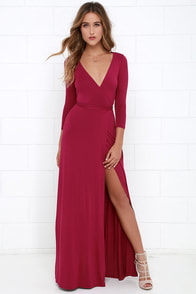 Garden District Berry Red Wrap Maxi Dress at Lulus.com!