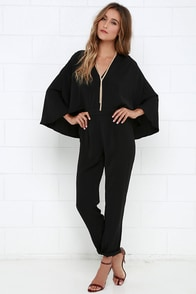 Style Hero Black Cape Jumpsuit at Lulus.com!