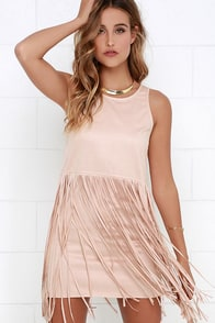 Gossip in the Grain Blush Fringe Suede Dress at Lulus.com!