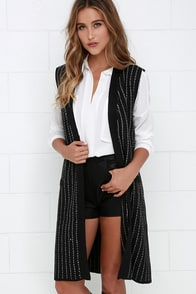 Do the Honors Ivory and Black Striped Vest at Lulus.com!