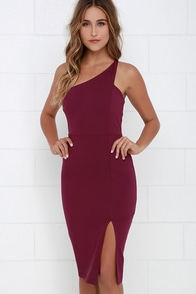 One-Way Ticket Burgundy One Shoulder Midi Dress at Lulus.com!