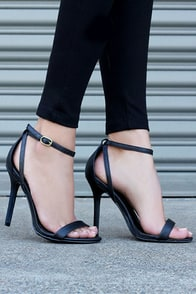LULUS Remi Black Snakeskin Ankle Strap Heels