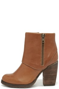 Sbicca Concertina Tan Leather High Heel Booties at Lulus.com!