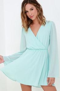 It's a Celebration Mint Blue Beaded Wrap Dress at Lulus.com!