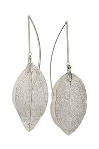 Leaf Bed Silver Leaf Threader Earrings at Lulus.com!