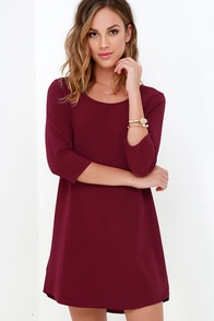 Jack By BB Dakota Luca Wine Red Shift Dress at Lulus.com!