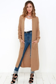 Portrait Gallery Tan Long Cardigan Sweater at Lulus.com!