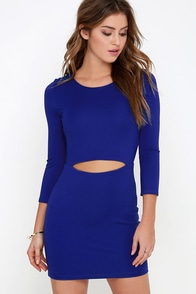 It's Been a Slice Royal Blue Long Sleeve Dress at Lulus.com!
