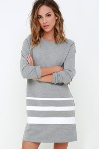 League of Legends Grey Striped Shift Dress at Lulus.com!