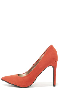 So Pumped Coral Suede Pointed Pumps at Lulus.com!