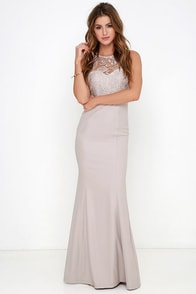 Oak and Elm Taupe Lace Maxi Dress at Lulus.com!