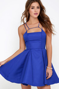 Gift of Rhyme Cobalt Blue Skater Dress at Lulus.com!