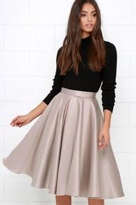 Sock Hop Sweetheart Taupe Midi Skirt $52.00 AT vintagedancer.com