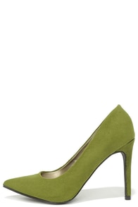 So Pumped Olive Green Suede Pointed Pumps at Lulus.com!
