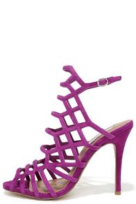 image Steve Madden Slithur Purple Leather Caged Heels
