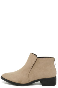 Step School Natural Suede Pointed Toe Booties