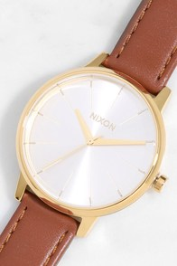 Nixon Kensington Leather Gold and Saddle Watch