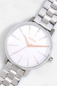 Nixon Kensington Silver and Light Gold Crystal Watch