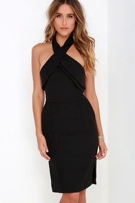 Finders Keepers Wrong Direction Black Halter Dress
