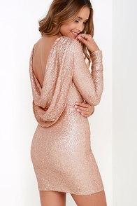 Gleam Back Rose Gold Sequin Dress at Lulus.com!
