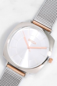 Breda Vix Two-Tone Rose Gold and Silver Watch