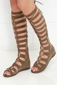 True Vision Beige Tall Gladiator Sandals at Lulus.com!