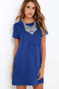 image Fond Memories Blue Suede Shift Dress