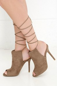 Got You Covered Taupe Suede Lace-Up Heels at Lulus.com!