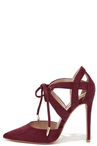 My Kind of Night Wine Red Suede Lace-Up Heels at Lulus.com!