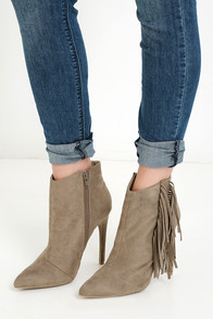 Flip Kick Taupe Suede Fringe Ankle Booties at Lulus.com!