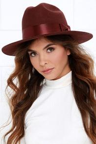 Brixton Tara Maroon Fedora Hat