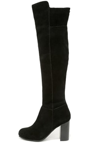 Kensie Ginette Black Suede Leather Knee High Heel Boots