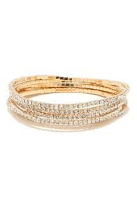 Dazzling Display Gold Rhinestone Bracelet Set at Lulus.com!