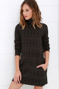 Obey Charlie Grey Print Sweater Dress at Lulus.com!